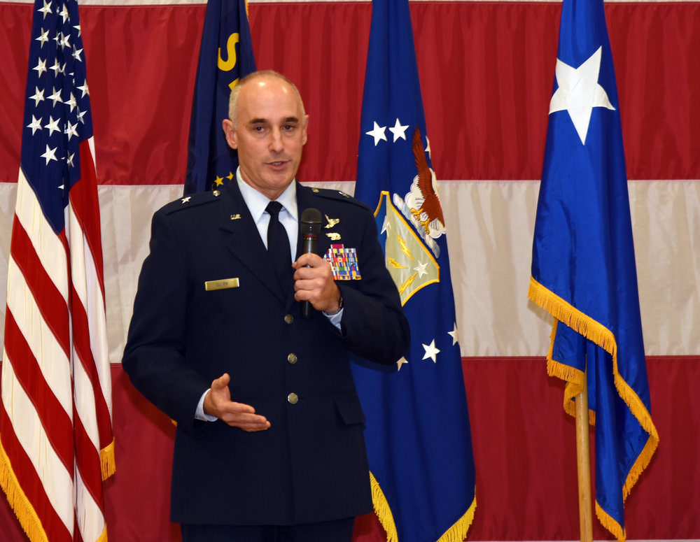 Brig. Gen. Jeffrey M. Silver, outgoing commander, Oregon Air National Guard, gives his parting remarks during a change of command ceremony at the Anderson Readiness Center in Salem, Oregon, Jan. 6, 2018. (U.S. Air National Guard photo by Tech. Sgt. Brandon Boyd, 142nd Fighter Wing Public Affairs)
