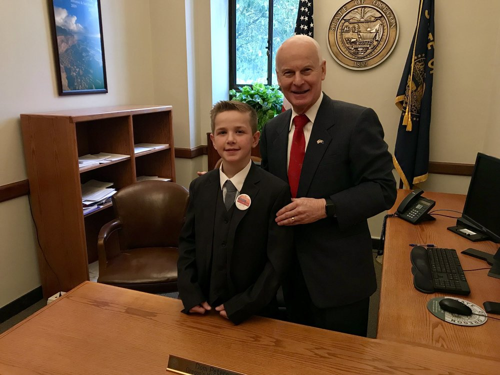 Dom Peters photographed with Oregon Secretary of State, Dennis Richardson.