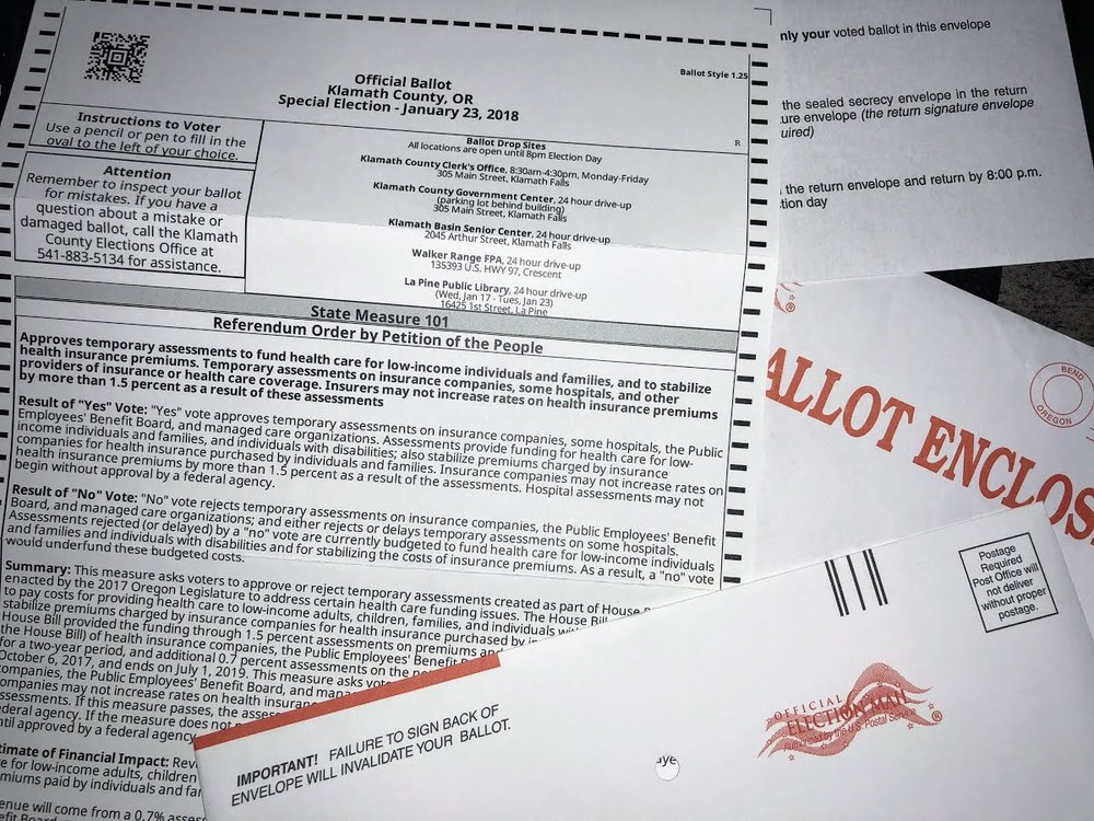 Oregon Special Election Ballot - Measure 101 (Brian Gailey)