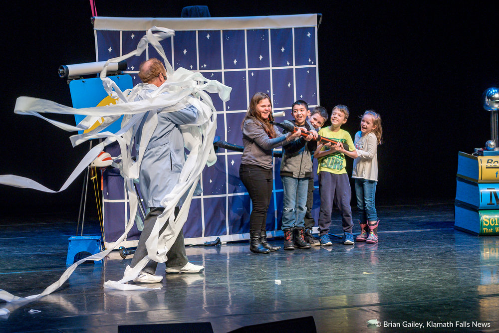 Professor Smart and the Let's Go Science Show entertains Klamath Falls Students on stage at the Ross Ragland Theater (Brian Gailey).