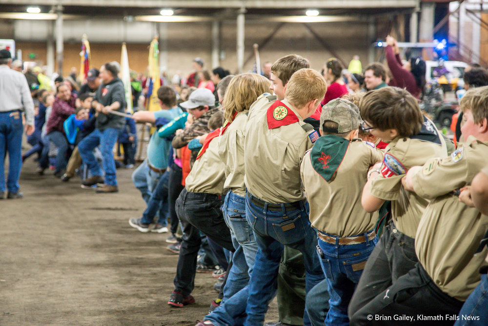 Crater Lake Council Boy Scouts play tug-a-war against the general public at PLAY Outdoors, Klamath Falls, Ore. - January 20, 2018 (Brian Gailey)