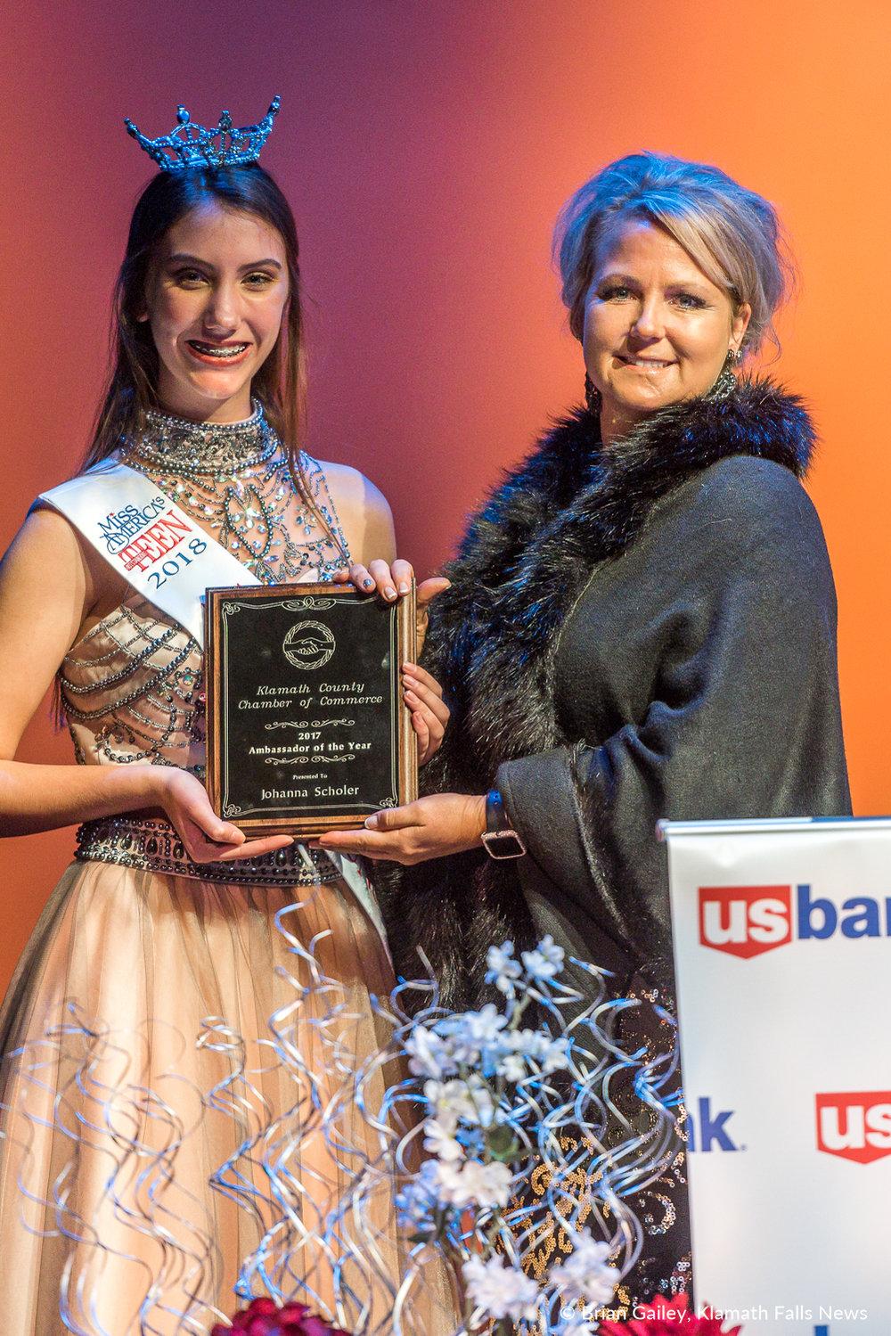 Ambassador of the Year: Johanna Scholer. Accepting on behalf of Scholer,Jenine Stuedli.Award at the 97th Annual Chamber Gala Awards. (Brian Gailey)
