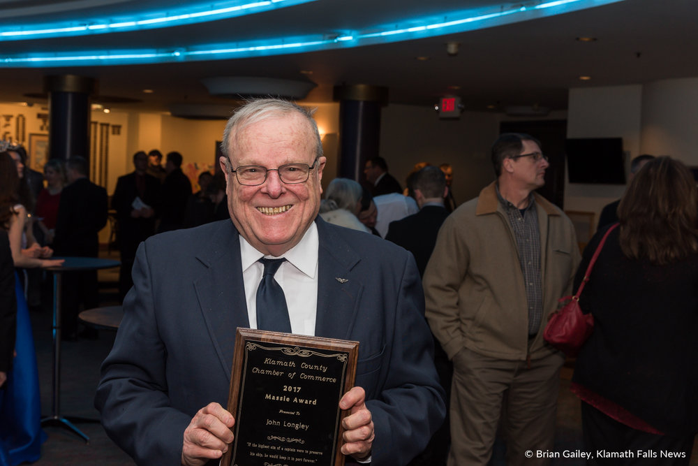 John Longley stands with his Presidents Award following the 97th Annual Chamber Gala Awards. (Brian Gailey)