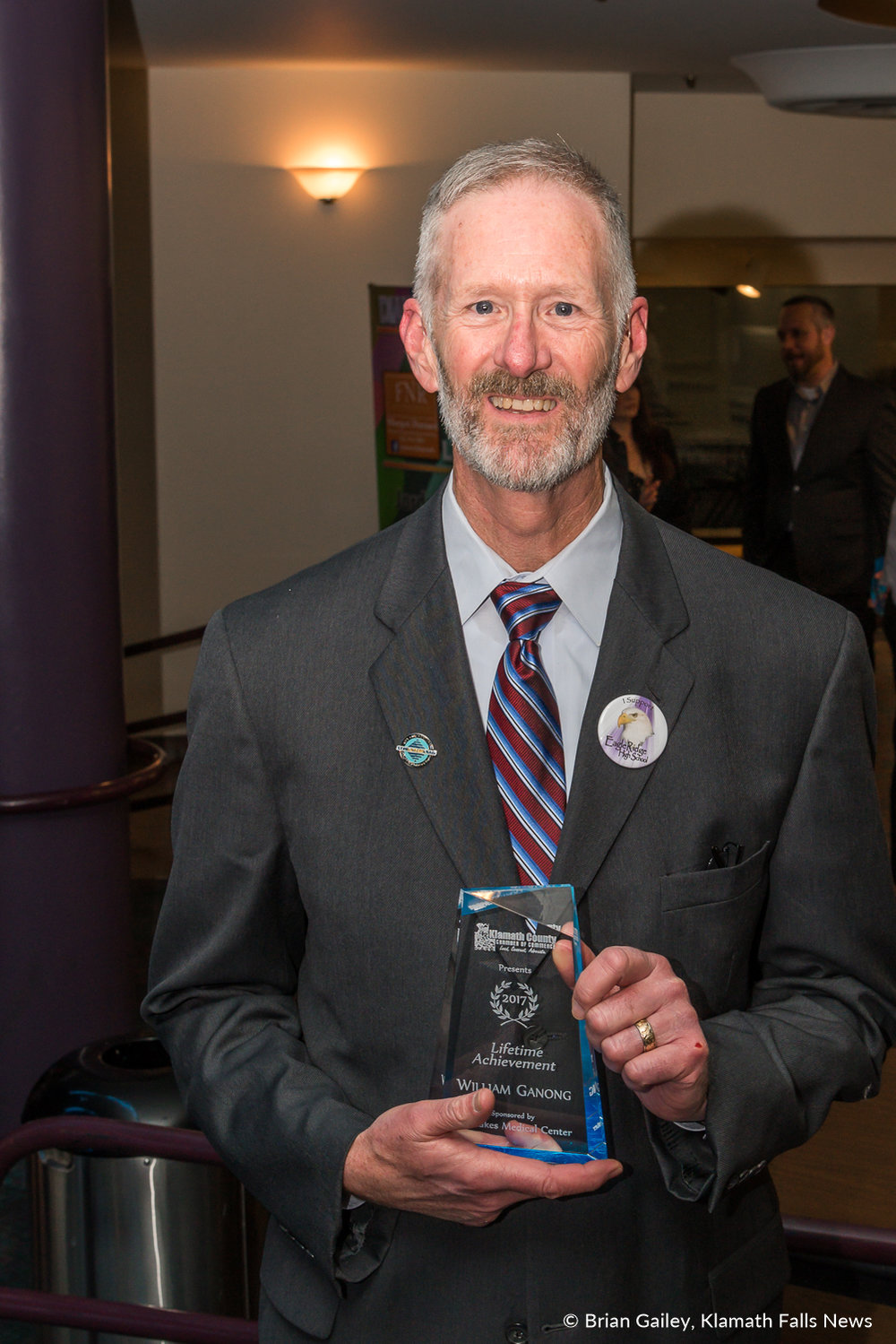 William Ganong stands with his Lifetime Achievement Award following the 97th Annual Chamber Gala Awards. (Brian Gailey)