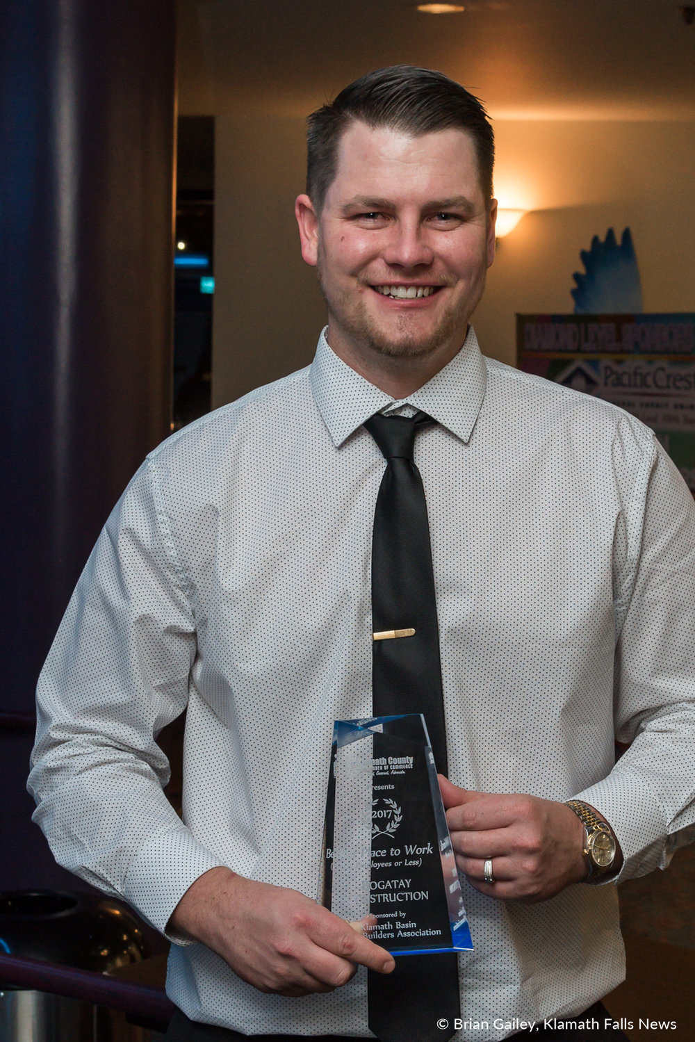 Matt Bogatay stands with his award following the 97th Annual Chamber Gala Awards. (Brian Gailey)