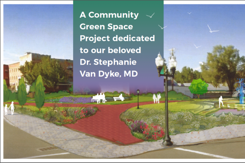 Artists rendering of the potential Dr. Stephanie Van Dyke Downtown Park.
