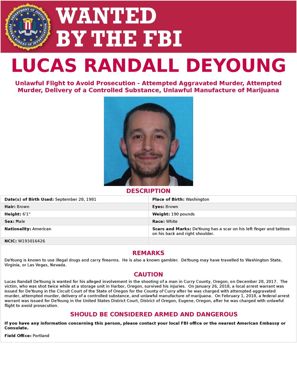 DeYoung Wanted Poster, Click to Enlarge.