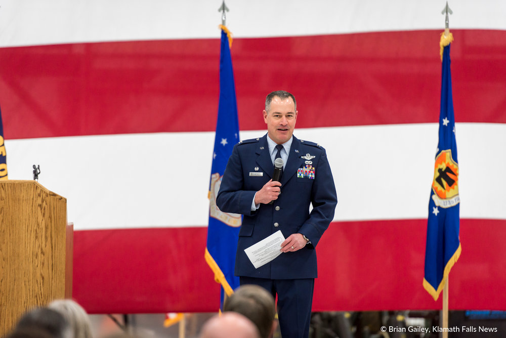 A ceremony held at Kingsley Field commemorates a new lease between the City of Klamath Falls and the Department of Defense. February 19, 2018. (Brian Gailey)