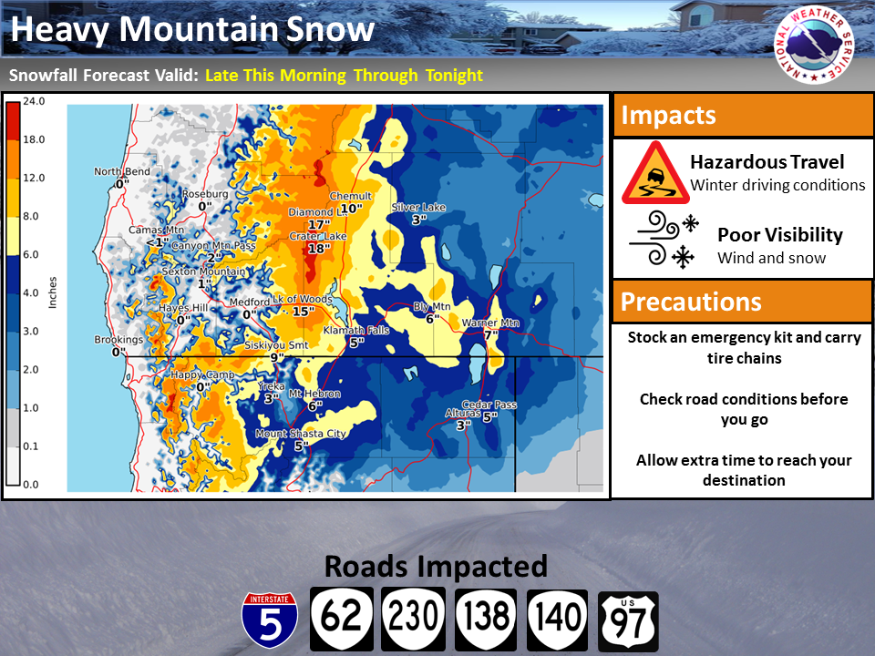 Heavy Mountain Snow Expected - National Weather Service. CLICK FOR LARGER