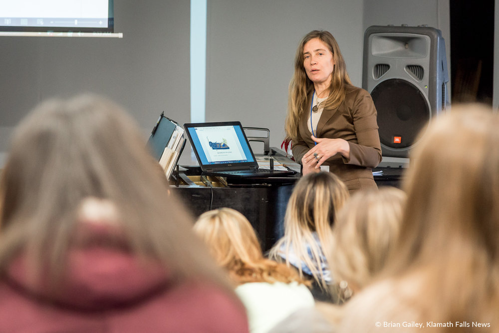 Klamath County District Attorney, Eve Costello addresses small groups about dangers of bullying, texting and driving, alcohol, drugs, and sexting. March 14, 2018. (Brian Gailey)