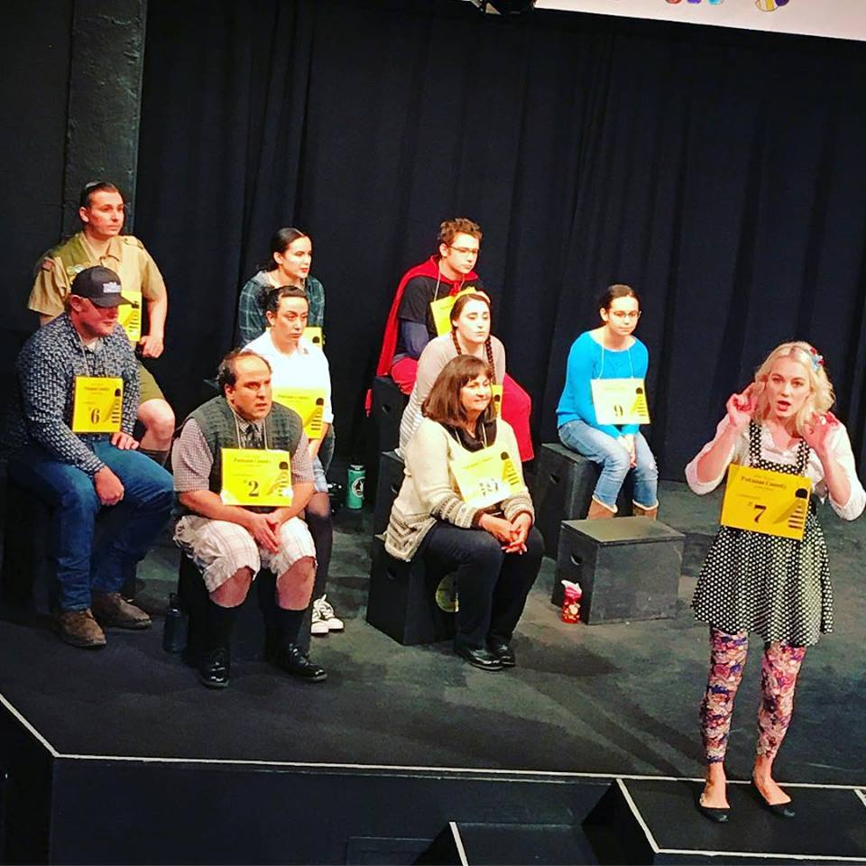 "Audience volunteers are part of the fun during the production of ""The 25th Annual Putnam County Spelling Bee"" (Linkville Players Facebook)"