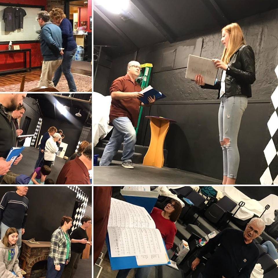 "Local actors reherse for the upcoming production of ""The White Rabbit and Alice."" (Linkville Players Facebook)"