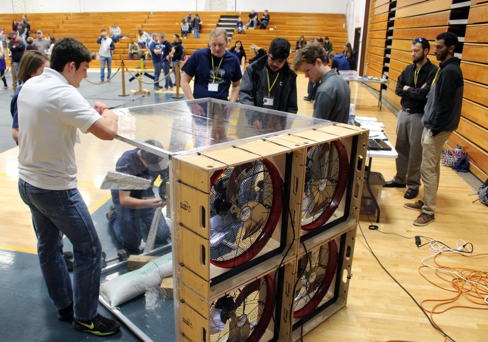 Henley High School students competed at the second-annual  KidWind Project Challenge on March 10. They designed and built wind turbines, then competed to which could produce the most energy. (Samantha Tipler, KCSD)