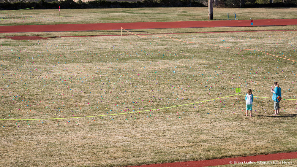The calm before the storm.  16,000+ plastic Easter eggs are laid out on the field of John F. Mohel Stadium at Oregon Tech for the 2018 Easter Egg Scramble. March 31, 2018 (Brian Gailey)
