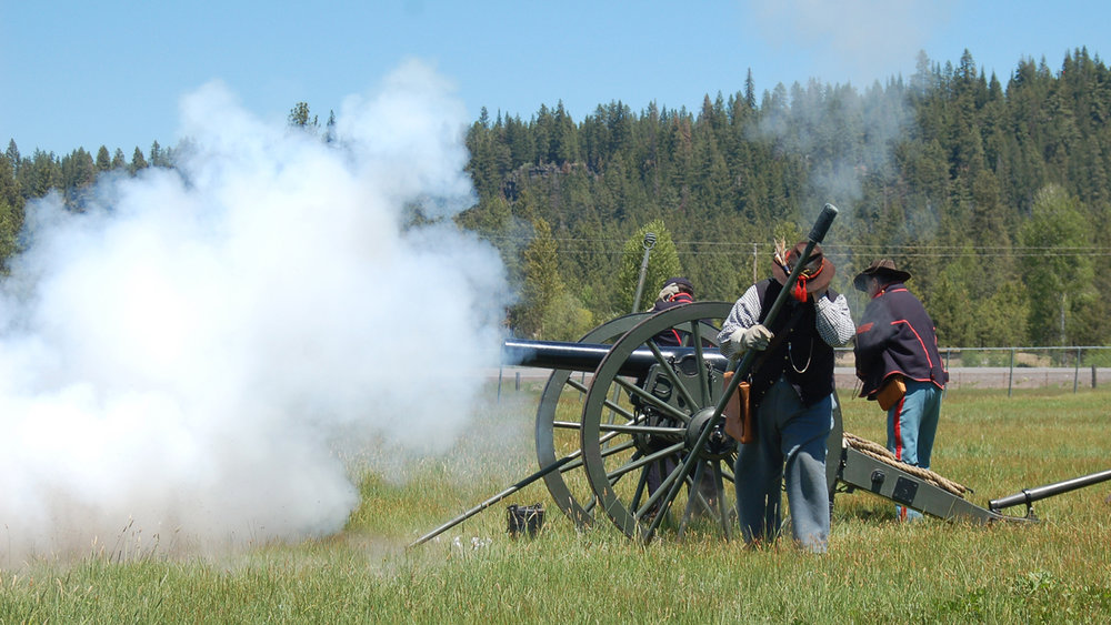 Living history re-enactors fire a cannon during last year's Heritage Days event at the Fort Klamath Museum. (Submitted Photo).
