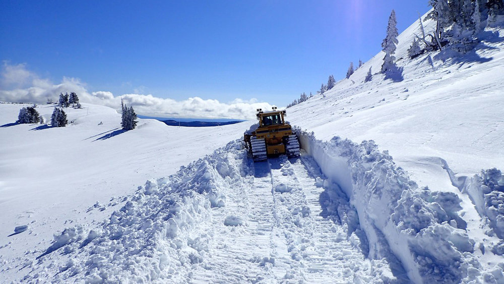 File Photo. Lead bulldozer during spring opening at Watchman Trailhead. Photo, National Parks Service.
