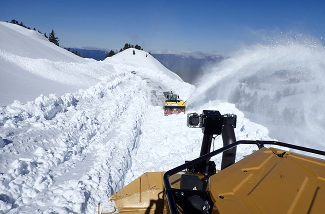 File Photo. Rotary plow clearing snow on Watchman Cut. Photo, National Parks Service