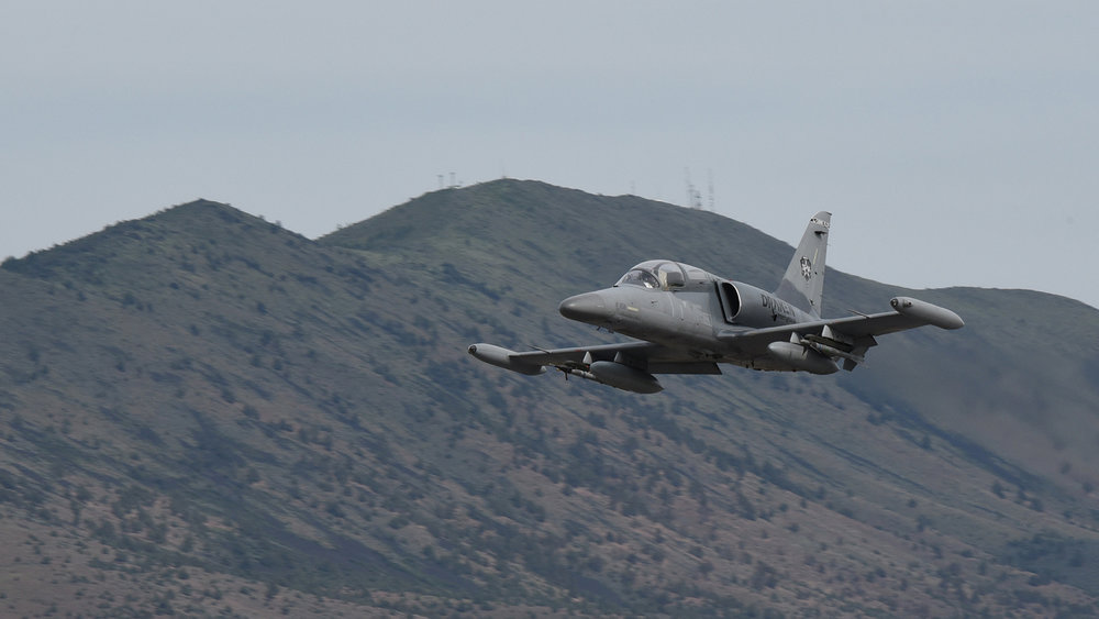 A Draken International L-159E Honey Badger aircraft heads for the Oregon Test and Training Range to simulate an adversary during training missions for the 173rd Fighter Wing under a contract to test their services for future use, June 5, 2018. The U.S. Air Force is evaluating if a permanent contract will successfully increase student pilot training for the air superiority mission in the F-15 Eagle. (U.S. Air National Guard photo by Tech. Sgt. Jefferson Thompson)