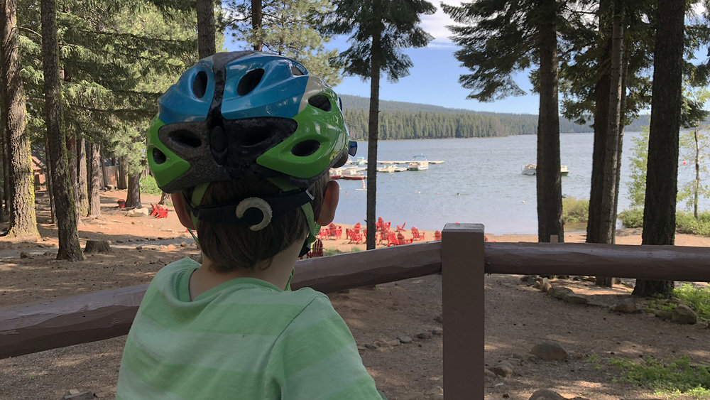 Sunset Trail at Lake of the Woods is a great place for a family bike ride. A well maintained trail with some downhills, cool lake breezes and adventure. (Brian Gailey).