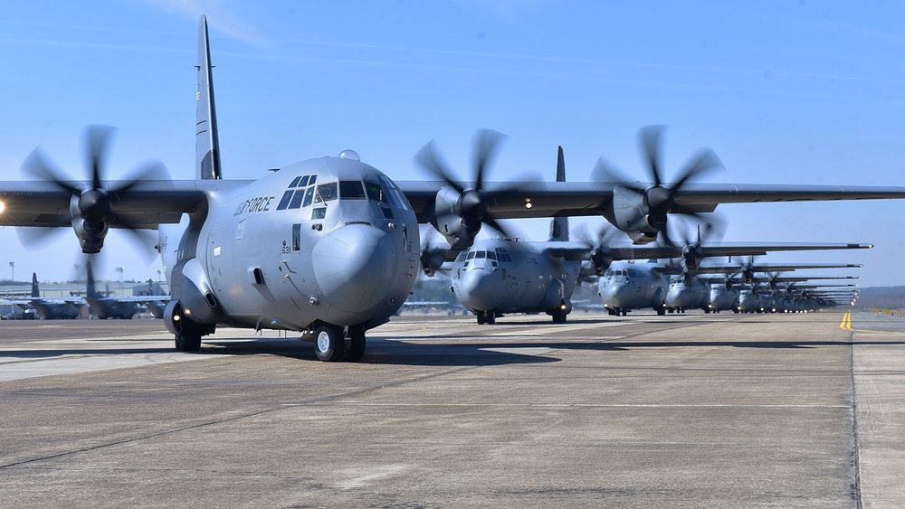 File Photo -Nineteen C-130J aircraft take part in an elephant walk before takeoff during an exercise Mar. 15, 2018, at Little Rock Air Force Base, Ark. Numerous C-130J units from around the Air Force participated in a training event to enhance operational effectiveness and joint interoperability. (U.S. Air Force photo by Airman 1st Class Rhett Isbell)