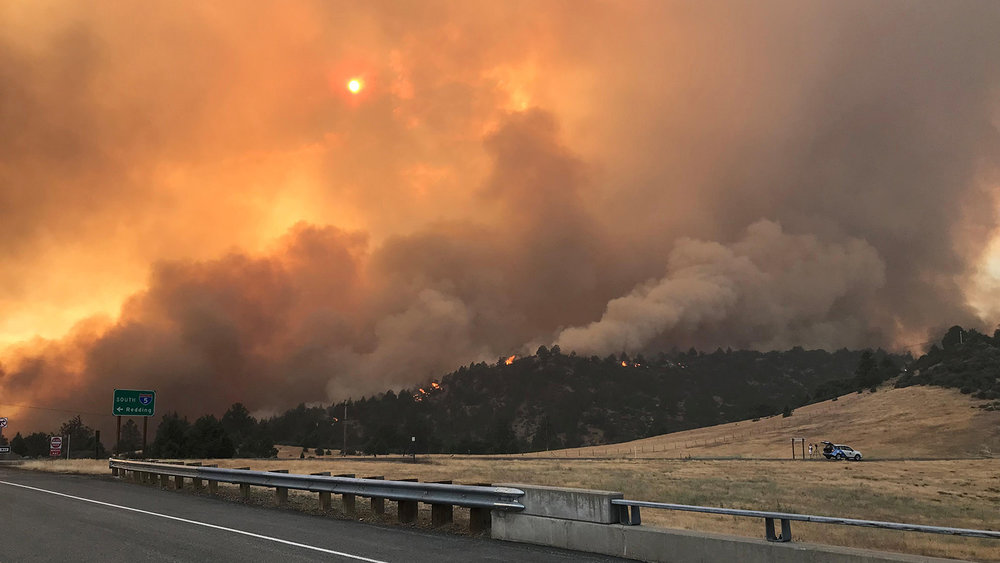 Smoke and Flames of the Klamathon Fire visible from Interstate 5 (Inciweb)