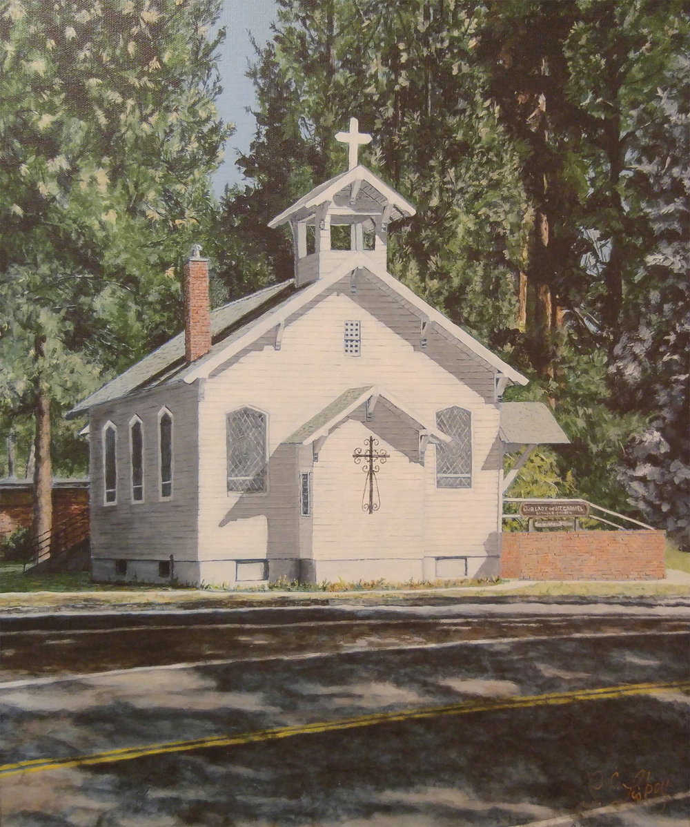 A church building in Chiloquin is among the subjects seen in an art exhibit this month at the Klamath County Museum's Modoc Gallery. (Submitted Photo)