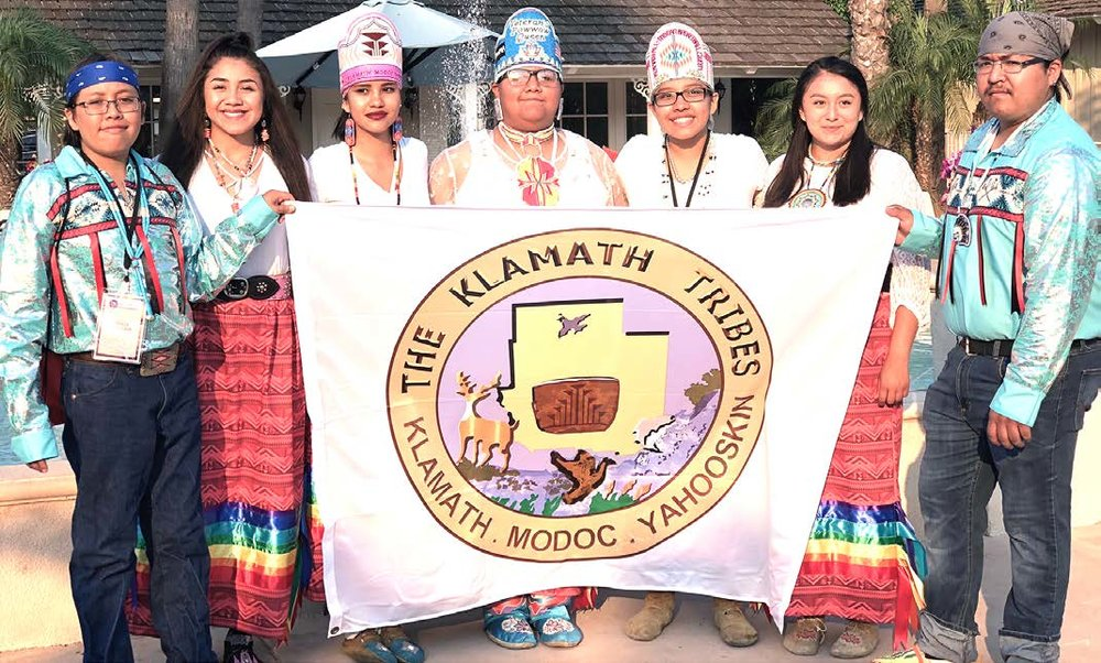 Klamath Tribes Youth Council pictured: Orville Schroeder; Vice-Chair- Sahalie Crain; Laura Schroeder; Natahna Schonchin-Noneo, Treasurer-Hannah Schroeder; Council Chair- Ashia Wilson; and Riggs Schonchin. Accompanied by two chaperones and Klamath Tribes Youth Coordinator, William Hess. (Submitted Photo)