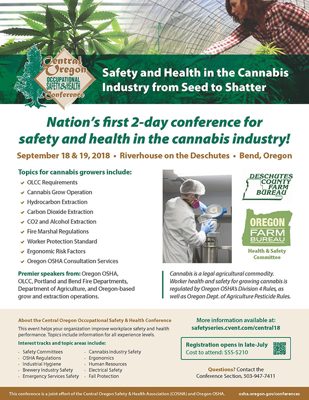 Central Oregon Occupational Safety & Health Conference - Safety and Health in the Cannabis Industry Flyer CLICK FOR LARGER