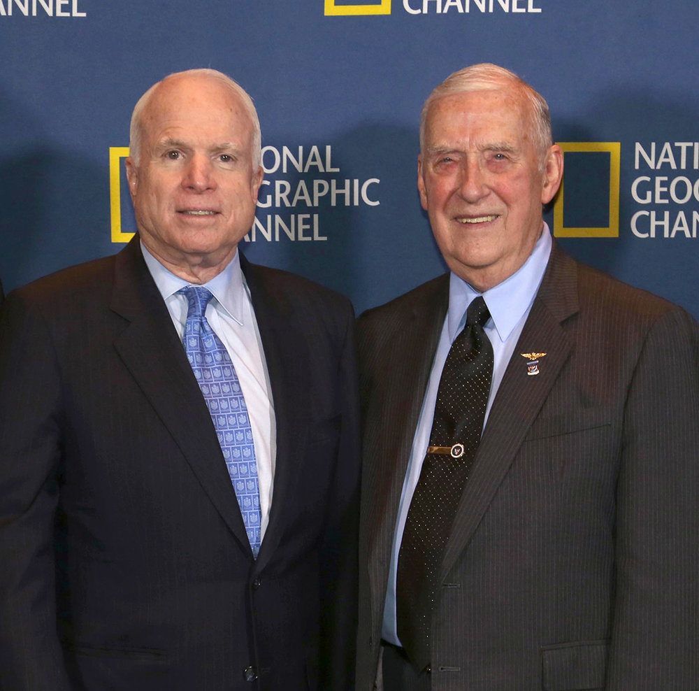 "Sen. John McCain poses with Ernest Brace in a publicity photo for the National Geographic Channel. The pair were featured in an episode of the network's ""Locked Up Abroad"" series. (Submitted Photo)"