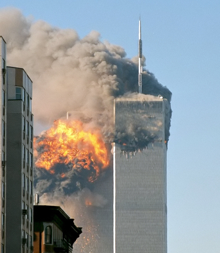 The north face of Two World Trade Center (South Tower) immediately after being struck by United Airlines Flight 175. (Wikipedia)