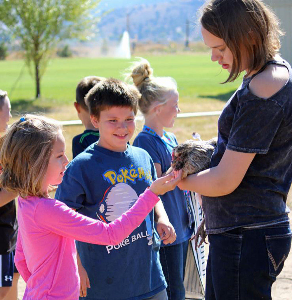 Lauren Kloepper, Henley High School FFA member, holds Winston, one of the club's chickens, so third-graders Sophia Elko and Samuel Age, can touch and pet the bird.