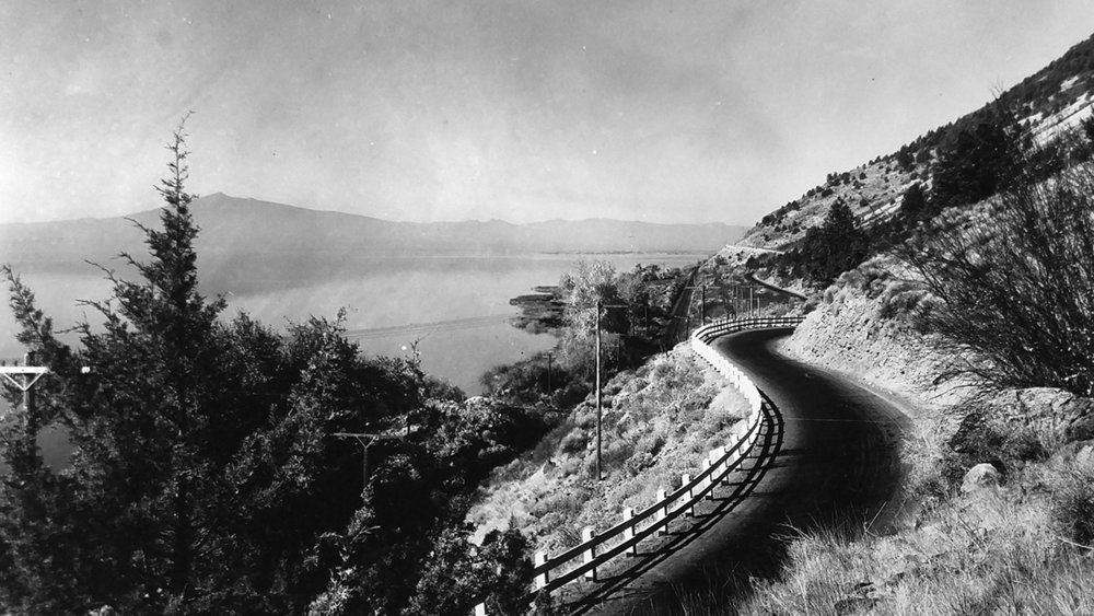 The Dalles-California Highway on the east shore of Upper Klamath Lake is seen in this photo from the 1920s. (Submitted Photo)