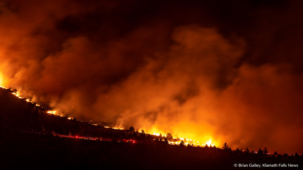 Fire on Stukel Mountain burns on October 14, 2018. Officials determine the Fire on Stukel Mountain was started by Dylan Acres and two accompanying minors as they were target shooing in the area with explosives and tracer ammunition. (Image: Brian Gailey)