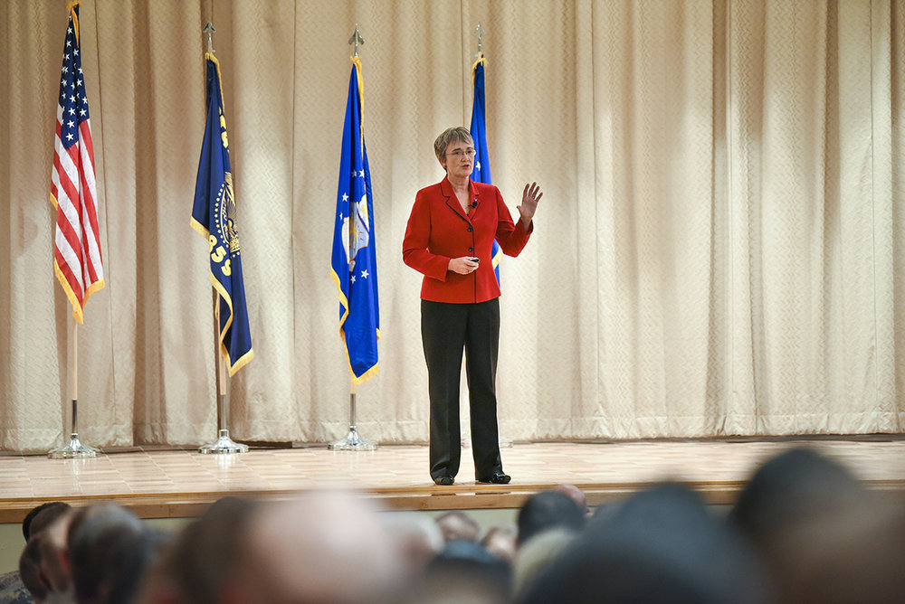 Secretary of the Air Force Heather Wilson addresses the 173rd Fighter Wing Airmen during her visit, Nov. 3, 2018. Wilson answered questions from the audience, as well as outlined the priorities of the Air Force moving forward including force modernization and improved readiness. (U.S. Air National Guard photo by Staff Sgt. Riley Johnson)
