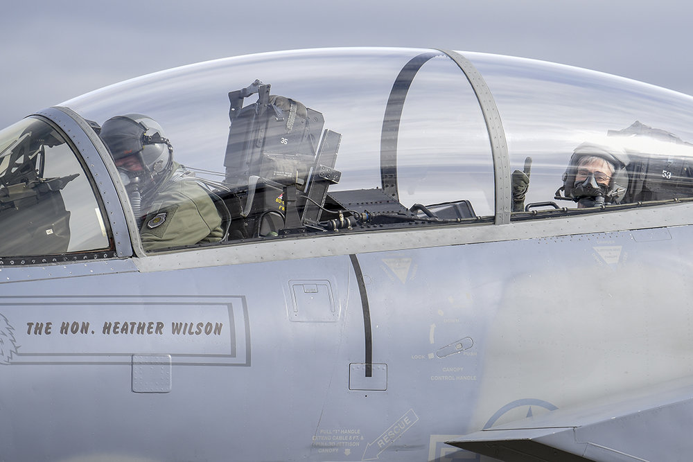 Secretary of the Air Force, Heather Wilson, right, gives a thumbs up as the engines of the F-15D Eagle start up before a familiarization flight Nov. 4, 2018, at Kingsley Field in Klamath Falls, Ore. The secretary's visit provided her a first-hand look at the wing's mission as the sole provider of F-15C air superiority pilots to the U.S. Air Force. (U.S. Air National Guard photo by Staff Sgt. Riley Johnson)
