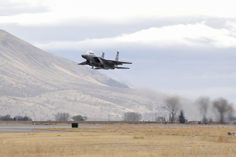 Secretary of the Air Force Heather Wilson rides in an F-15D Eagle piloted by U.S. Air Force Col. Jeff Smith, 173rd Fighter Wing commander, during a familiarization flight Nov. 4, 2018, at Kingsley Field in Klamath Falls, Ore. The secretary's visit provided her a first-hand look at the wing's mission as the sole provider of F-15C air superiority pilots to the U.S. Air Force. (U.S. Air National Guard photo by Staff Sgt. Riley Johnson)