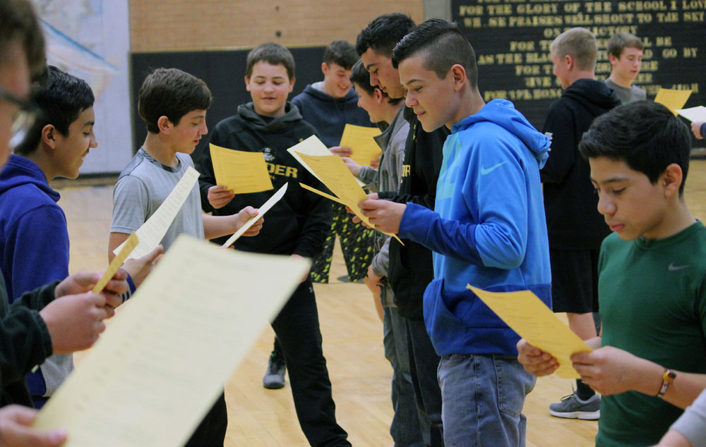 """River students read aloud from a scene in Shakespeare's """"As You Like It."""""""