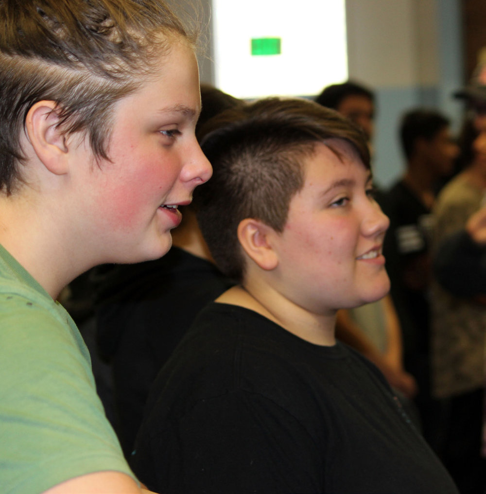 Brennen Ward and Spencer Miller participate in the Oregon Shakespeare Festival workshop at Chiloquin Junior-Senior High School.