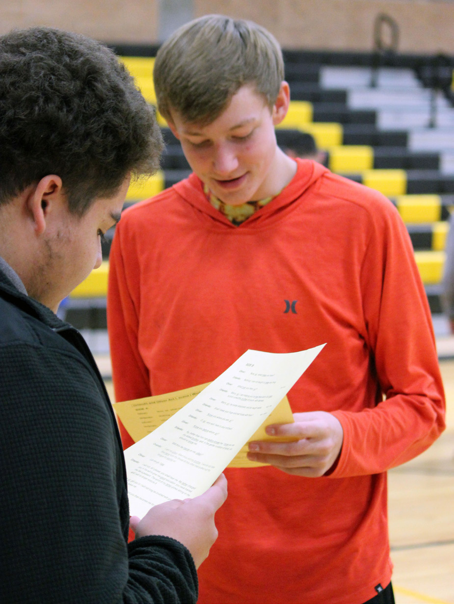 """Lost River students Eduardo Reynoso and Cole Johnson read a scene from Shakespeare's """"As You Like It."""""""