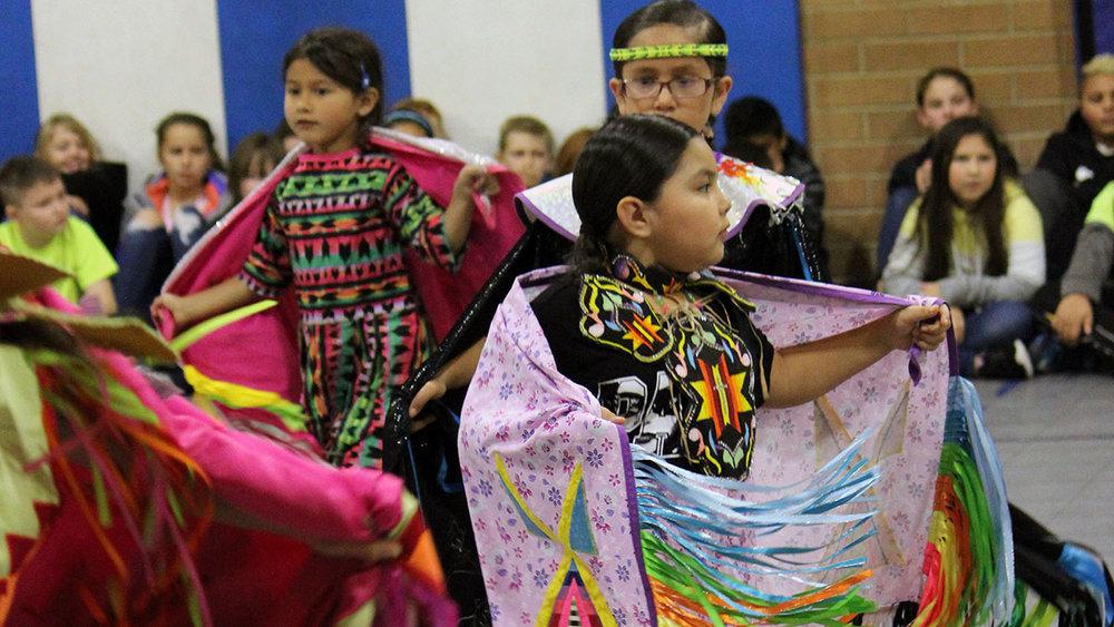 Myla Miller, first-grade at Conger Elementary; Teyanna McNair, third-grade at Conger Elementary, and Alayna Guerra, kindergarten at Petersen Elementary School, were among Klamath Tribes dancers who performed at Shasta Elementary School.
