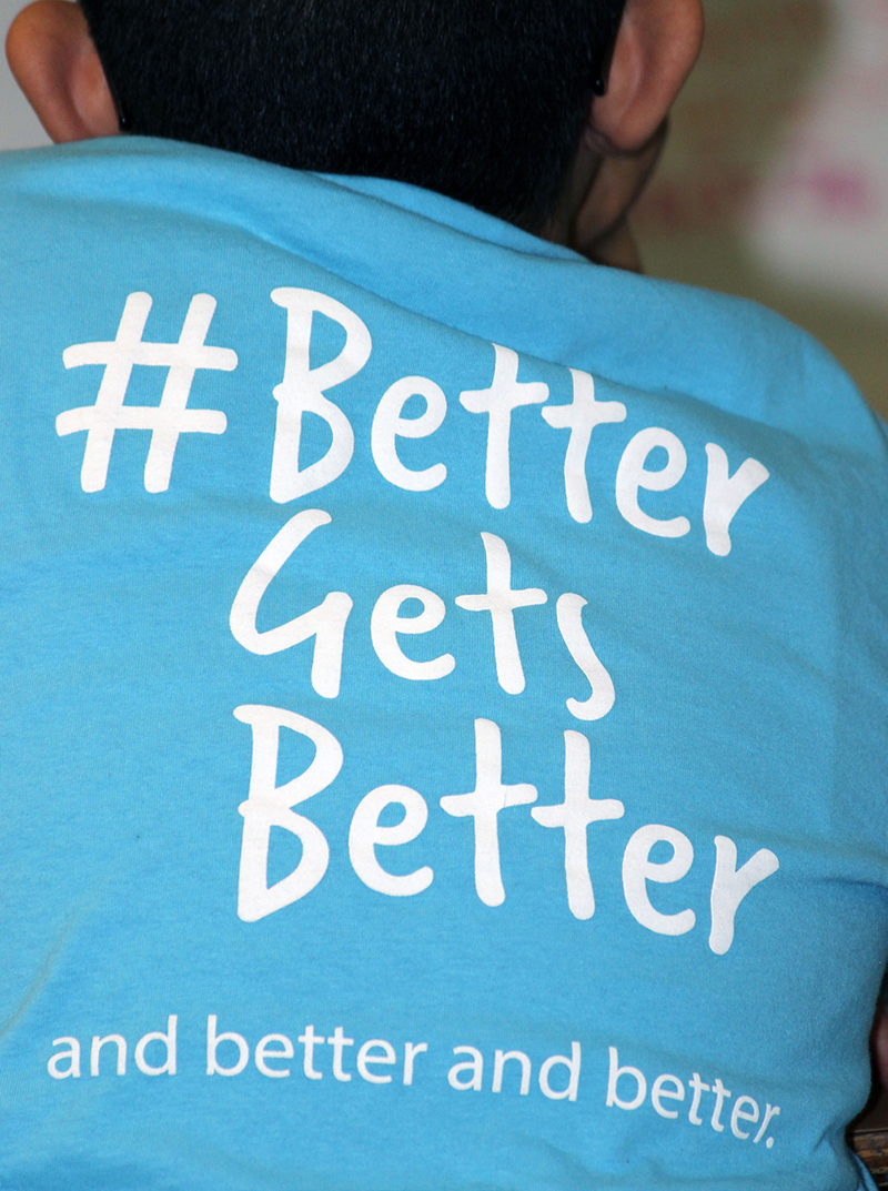 Shasta Elementary School fourth-grader Omar Ruelas wears his Classroom Champions T-shirt with the motto # Better Gets Better during a live chat with Olympic bobsledder Carlo Valdes.