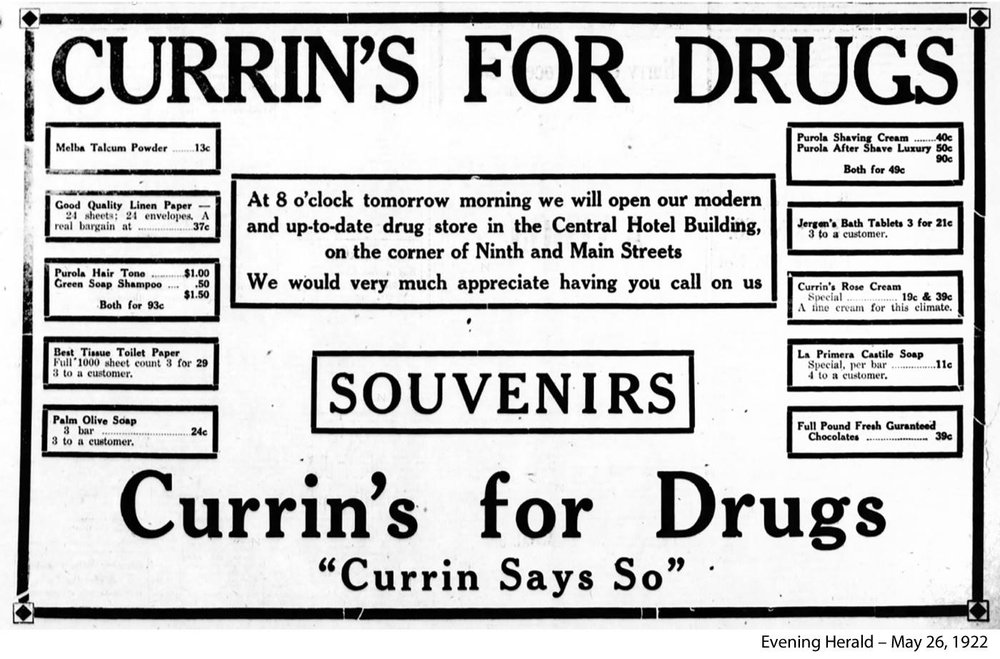 Here's a newspaper ad announcing the opening of Currin's for Drugs in 1922. Three rolls of toilet paper for 29 cents!
