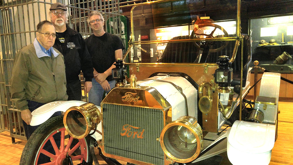 A 1915 Ford Model T automobile was recently donated to the Klamath County Museum. Shown with the vehicle are museum volunteers Gary Mattos, left, and Greg Beckman, with museum maintenance technician Jim McClure. Submitted Photo.