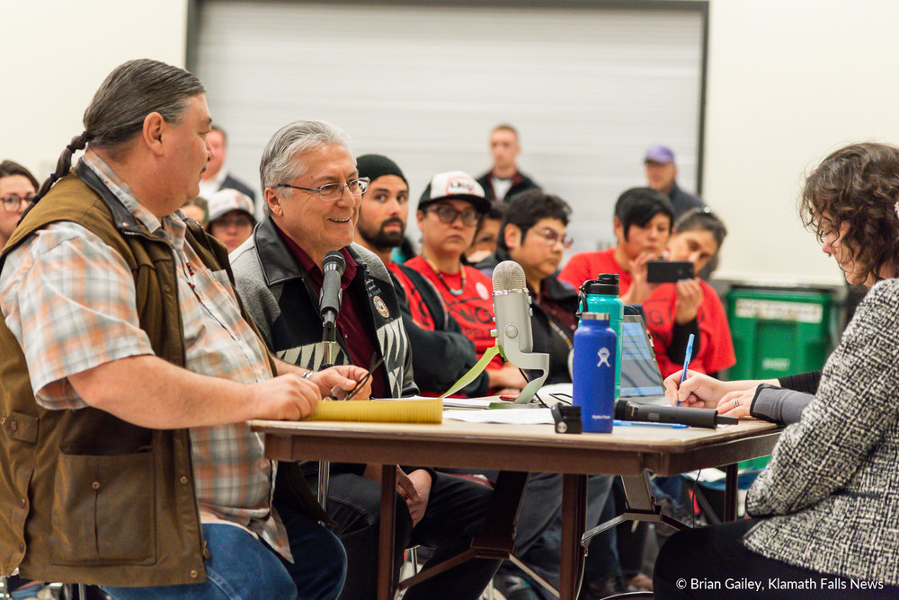 Don Gentry, Chairman of the Klamath Tribes testifies in a hearing about the removal-fill permit application for the Jordan Cove Energy Project. January 7, 2019. (Brian Gailey)