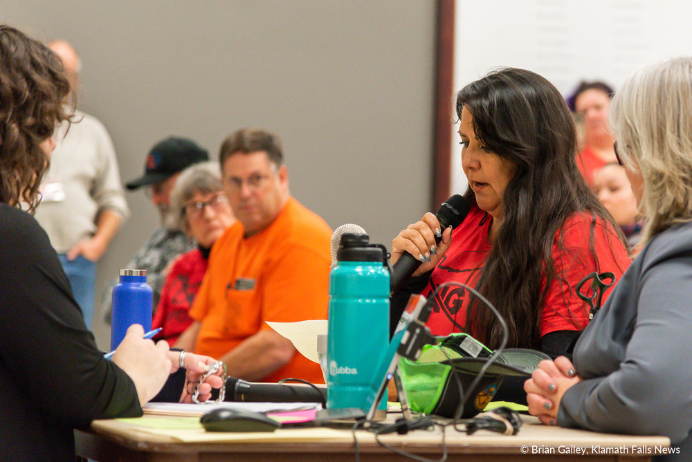 Taylor Tupper testifies regarding the removal-fill permit application for the Jordan Cove Energy Project. January 7, 2019 (Brian Gailey)