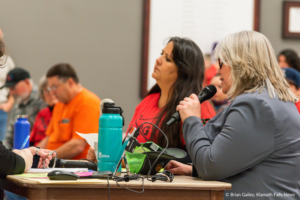Heather Tramp, Executive Director of the Klamath County Chamber of Commerce testifies on behalf of the Chamber in support of the Jordan Cove Energy Project. January 7, 2019 (Brian Gailey)