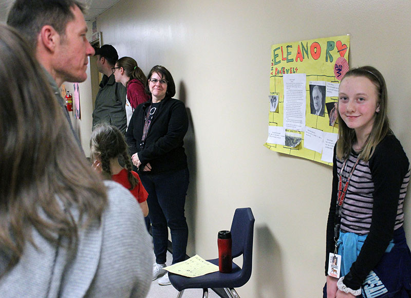 Sixth-grader Brittany Downing talks about Eleanor Roosevelt as part of the Living Museum during Ferguson's Annual Family Fun Night.