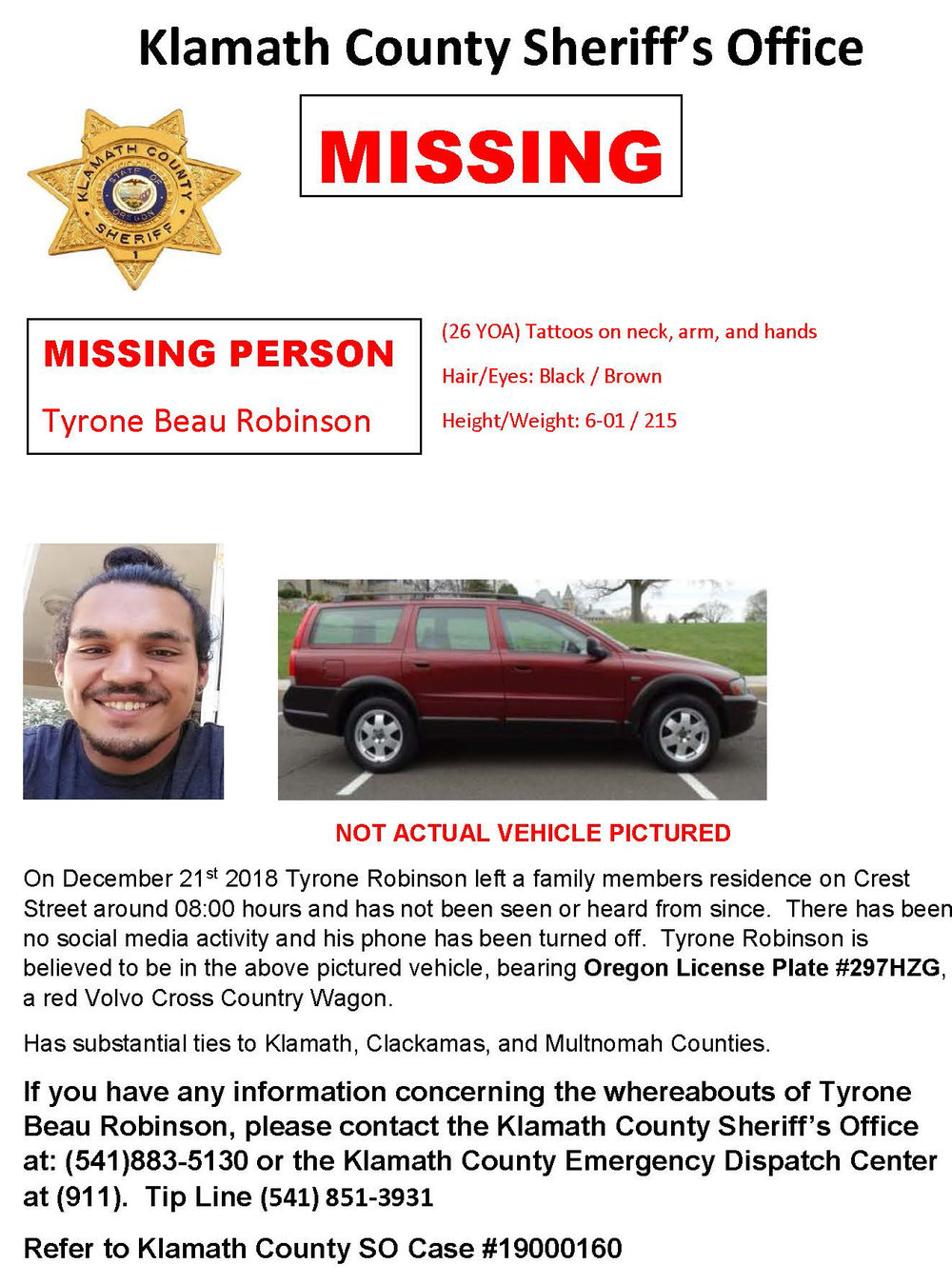 KCSO Missing Person, Tyrone Beau Robinson. Click for larger.