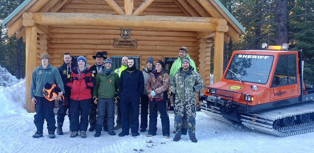 Volunteers of the Klamath County Search and Rescue held a 24-hour training at a snow camp at Annie Creek Snow-Park. Travis Griffin , Terry Brown, Tayla Gale, Matt Marshall, Chris Rhode, TJ Lombardi, Gage Knox, Megan Mangels, Cari Norlin, Nathan King, Mike Moser. (Submitted photo)