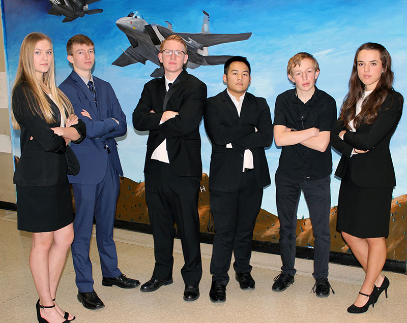 Henley High School students presenting at the Project Lead the Way conference in Anaheim are from left: Grace Parker, Sean Wolf, Thys deHoop, Dylan Huynh, Michael Molineaux and Alyssa Michaelis.